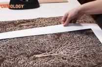 Use a 'Fussy Cut' frame to align fabric motifs when making custom Design Foam decor