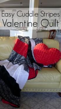 Easy Cuddle Strips Valentine Quilt