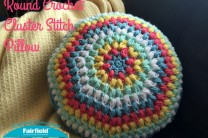 Round Crochet Cluster Stitch Pillow