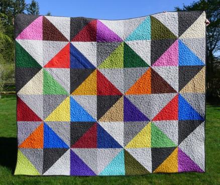 Urban Scandinavian Modern Half-Square Triangle Quilt