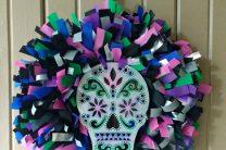 Day of the Dead Skull OlyFun Rag Wreath