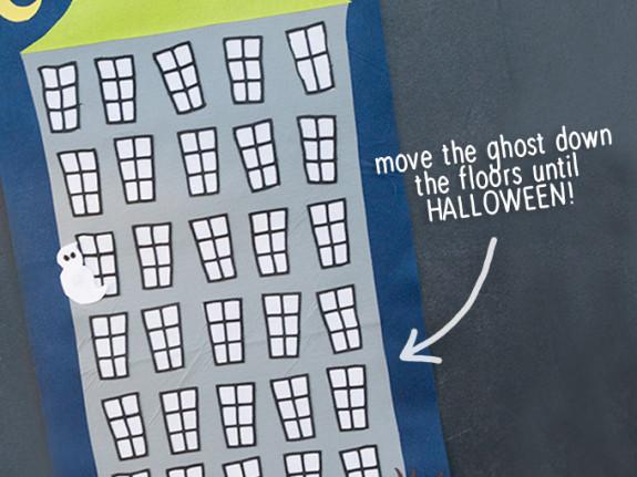 Halloween Countdown -free printable Follow the ghost as he countsdown to Halloween day!