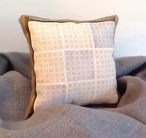stamped fabric burlap pillow lisa fulmer