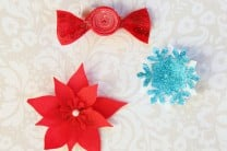Holiday Hair Clips made with Oly-Fun Fabric