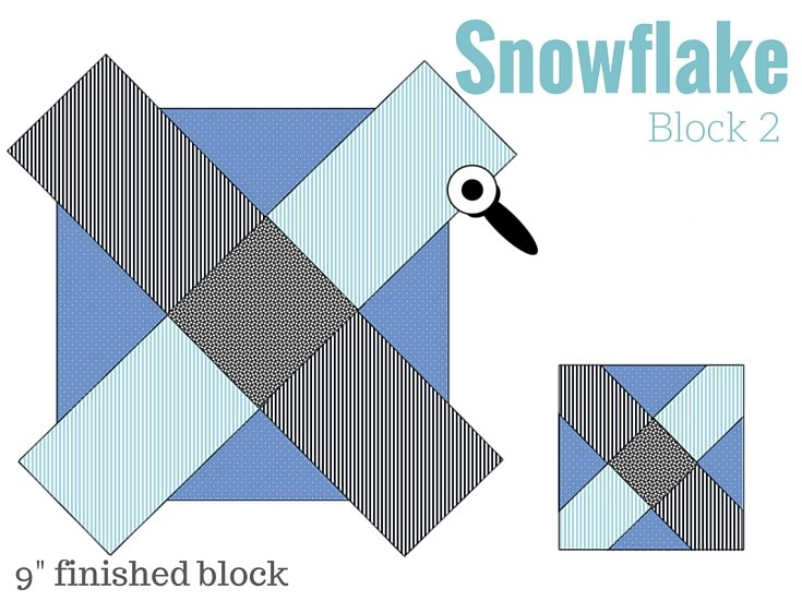 Snowflake Block 2 in the Free 2016 BOM quilt series Starry Night Block of the month