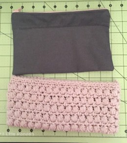 fabric and crochet pouch