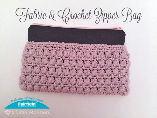 Crochet Zipper Join : Fabric & Crochet Zipper Bag - Fairfield World Craft Projects