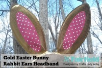 Gold Easter Bunny Rabbit Ears Headband
