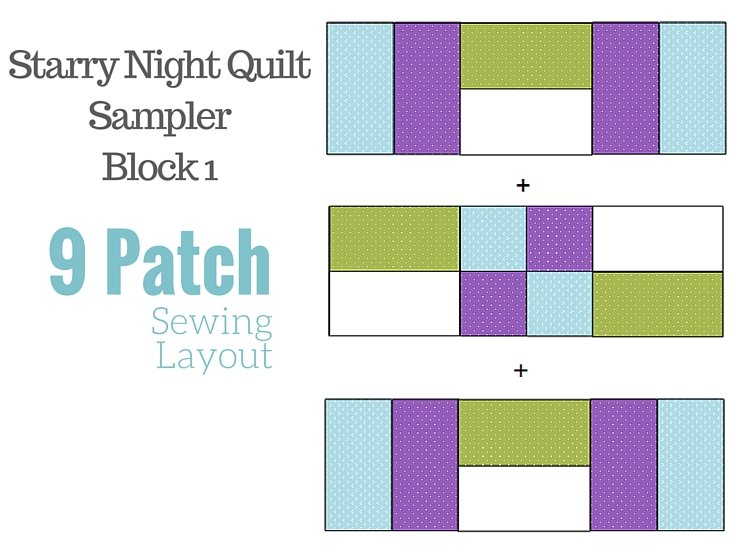 9 Patch Quilt Block. Free 2016 BOM quilt series Starry Night Block of the moth