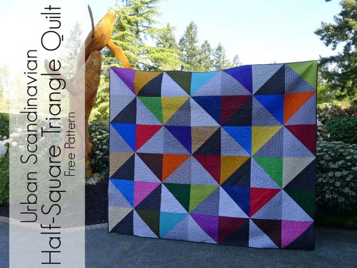 Urban Scandinavian Modern Half Square Triangle Quilt