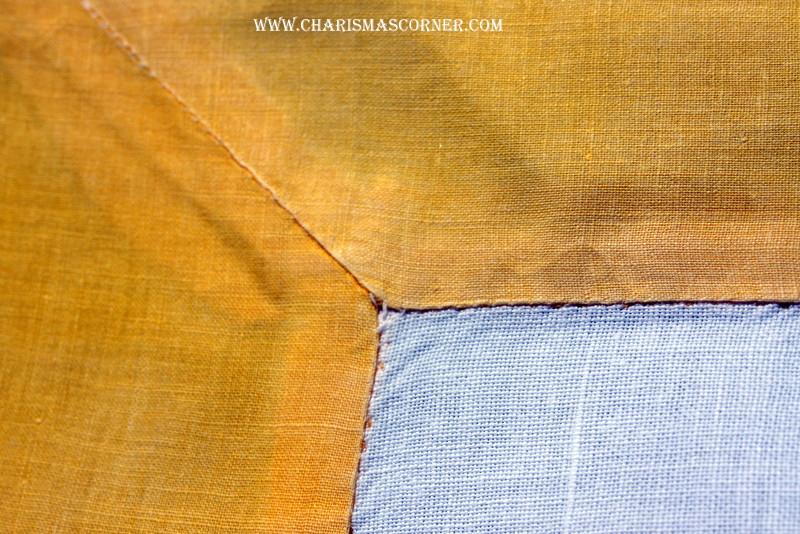 Quilted Vintage Tablecloth mitered corner