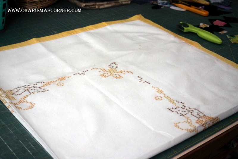 vintage linens used for quilting