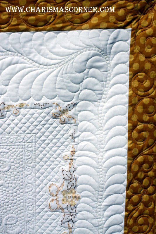 batting layers in Quilted Vintage Tablecloth