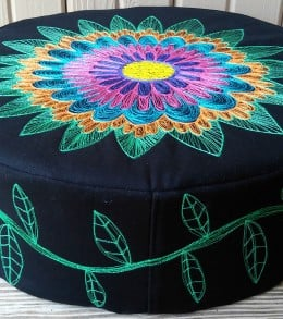 Floral Embroidered Floor Pouf 3