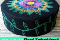 Floral Embroidered Floor Pouf