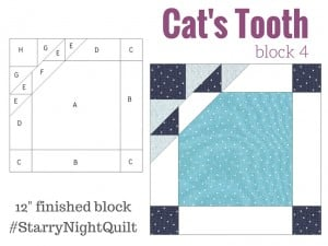 Block 4 Cat's Tooth in the Starry Night Quilt Sampler designed by The Sewing Loft