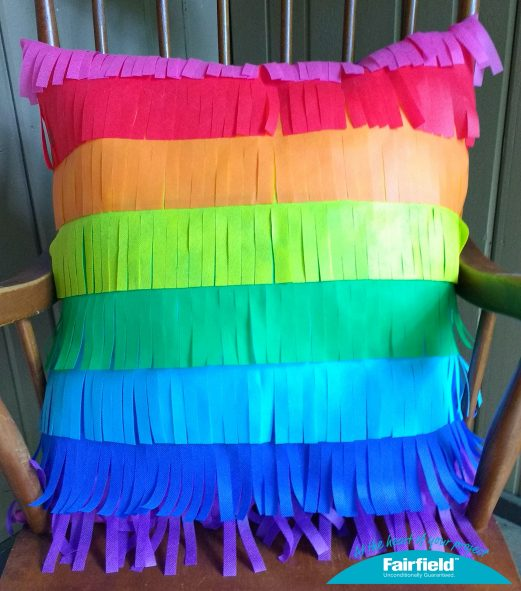 Rainbow Pinata Fringe Pillow