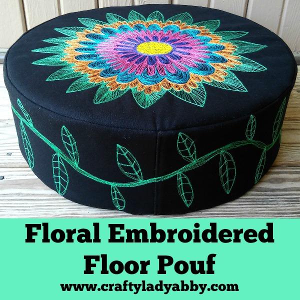 Floral Embroidered Floor Pouf HEADER 2