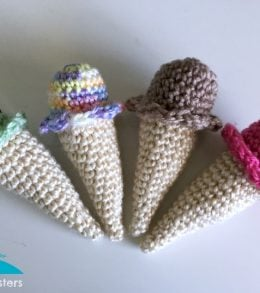 crochet ice cream cones