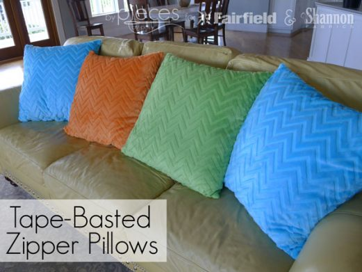 Easy Tape-Basted Zipper Pillows