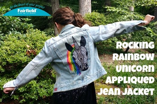 Rocking Rainbow Unicorn Appliqued Jean Jacket