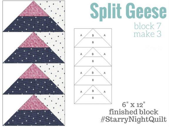 Starry Night Sampler Split Geese Cutting Instructions