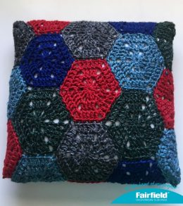 finished hexagon pillow