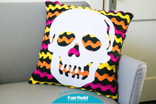 Ric Rack Skull Halloween Pillow