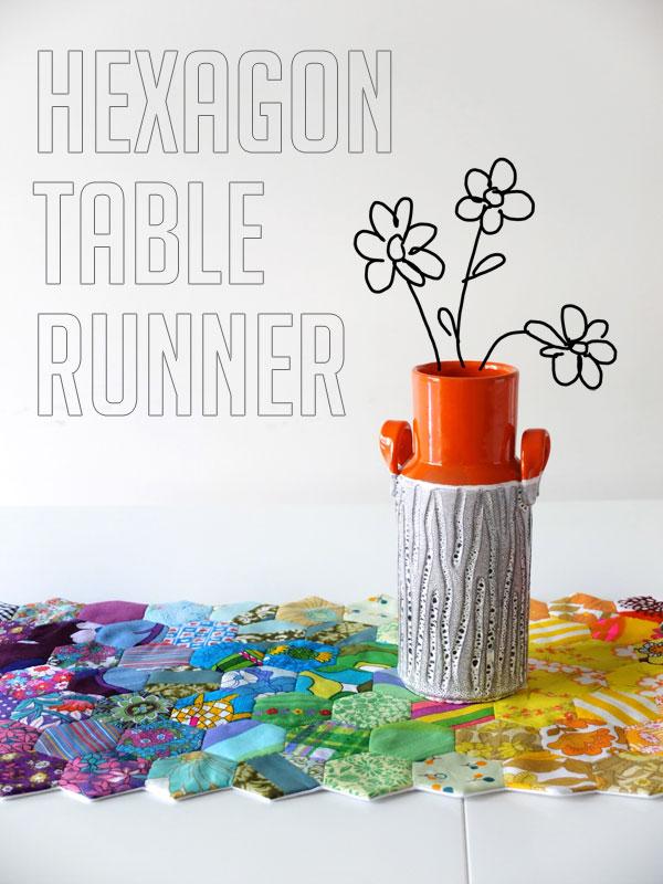 hexagon table runner - hexies