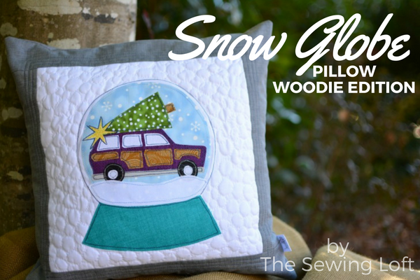 DIY Christmas pillows for your home decor. A vintage woodie wagon appliqué inside a snow globe woodie wagon