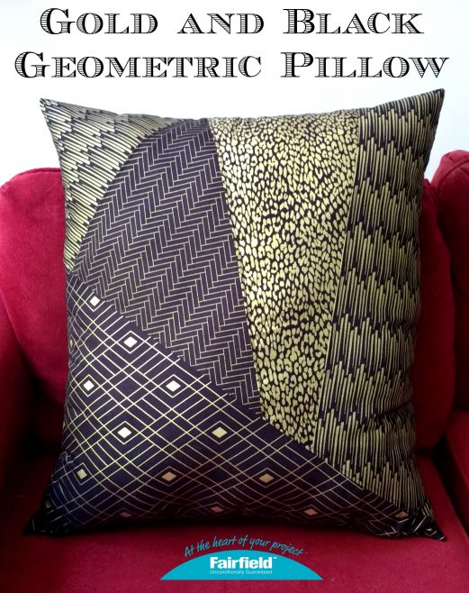 GOLD AND BLACK GEOMETRIC PILLOW