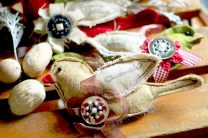 scrap fabric bird ornaments