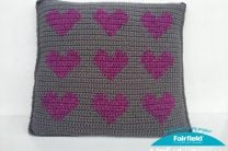 Colorwork Crochet Hearts Pillow