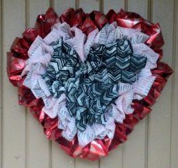 Valentine's Day Ruffled OlyFun Heart Wreath 8