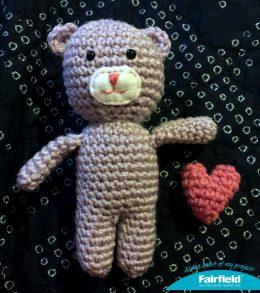 crochet teddy with heart