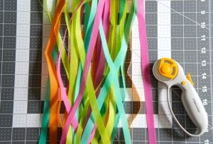Colorful strips of Oly*Fun for DIY wall hanging