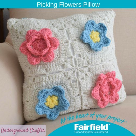Crochet Picking Flowers Pillow