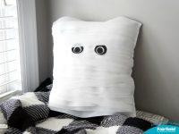 Cute Halloween Decor - Mummy Pillow made with Fairfield World Decorator's Choice pillow and Oly*Fun