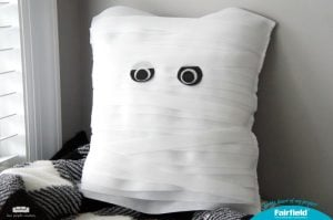 Easy Halloween Home Decor Idea - Mummy Pillow made with Fairfield World Decorator's Choice pillow and Oly*Fun