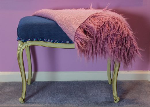 Denim Bench with Faux Fur Cover