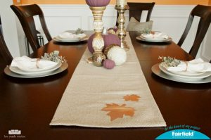 Chic Fall Tablescape with DIY Table Runner and Napkin Rings using Rose Gold Oly*Fun from Fairfield