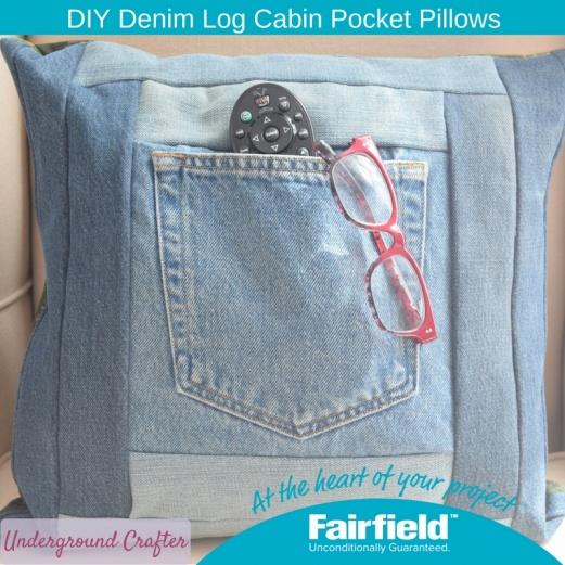 DIY Denim Log Cabin Pocket Pillows