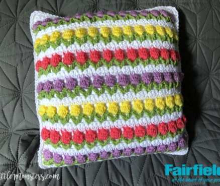 Spring Tulips Crochet Pillow