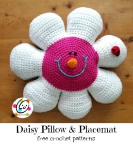 Daisy Pillow & Placemat, free crochet pattern by Snappy Tots