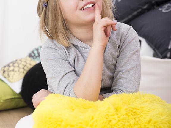 Fluffy lap pad for sensory play