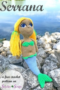 Serrana the Mermaid, free crochet amigurumi pattern with video and photo tutorials by StitchesNScraps
