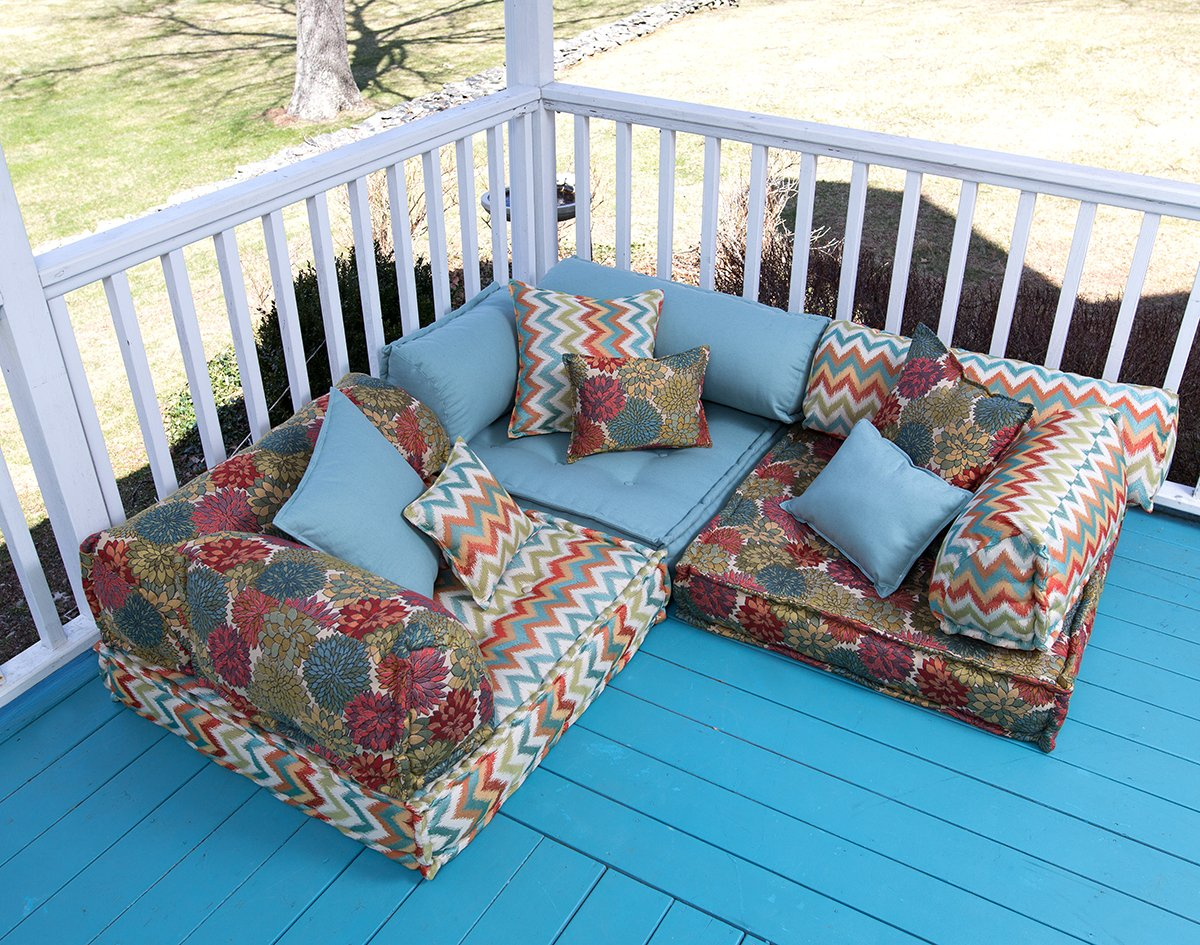Lounging on the porch - french mattress from Fairfield