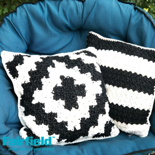 Black and White Geometric Outdoor Pillow