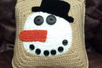 Crochet Norman Buttons the Snowman Pillow