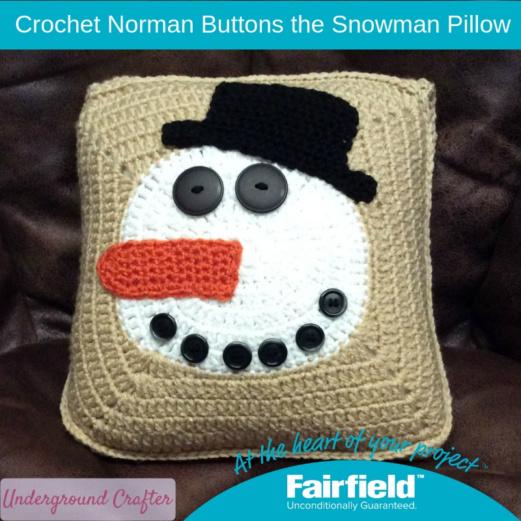 Crochet Norman Buttons the Snowman Pillow  Copy